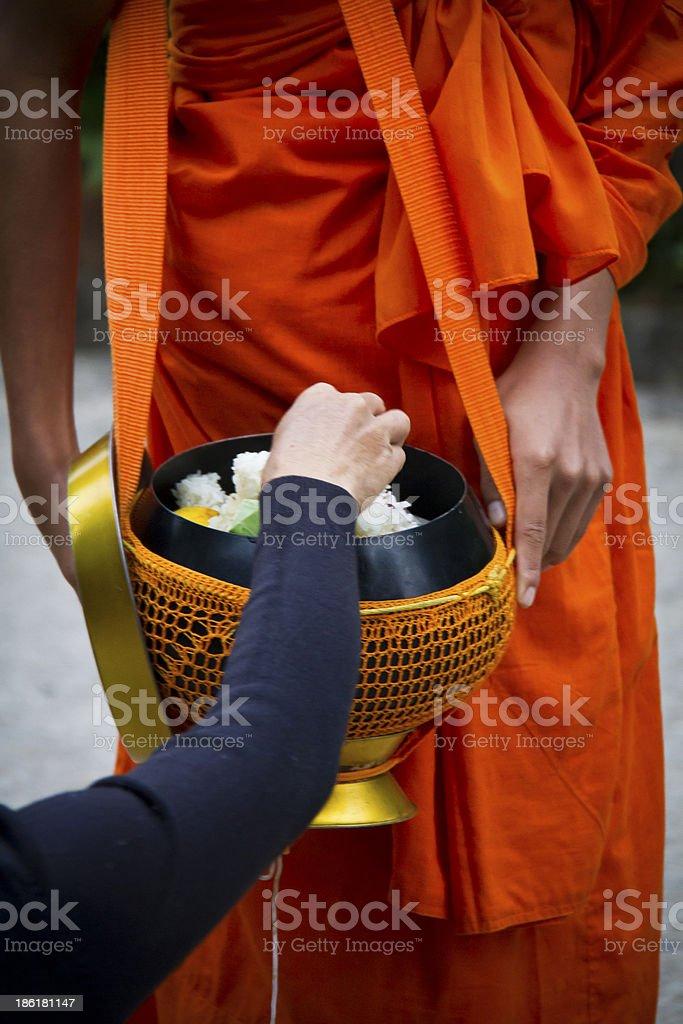 Alms giving, Luang Prebang, Laos stock photo