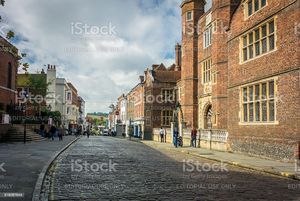 Almshouses Guildford High Street stock photo