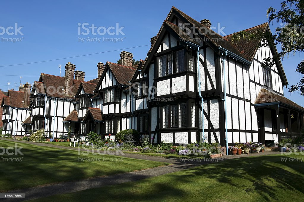 almshouses terraced cottages tring hertfordshire stock photo
