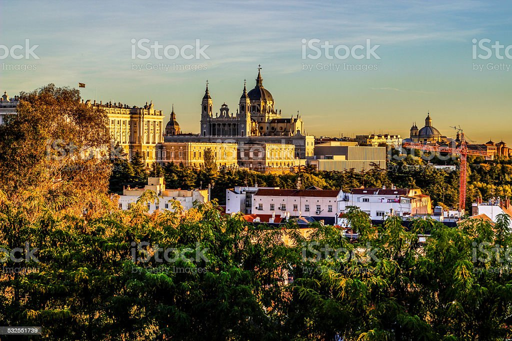 Almudena Cathedral and Royal Palace, Madrid (Spain) stock photo