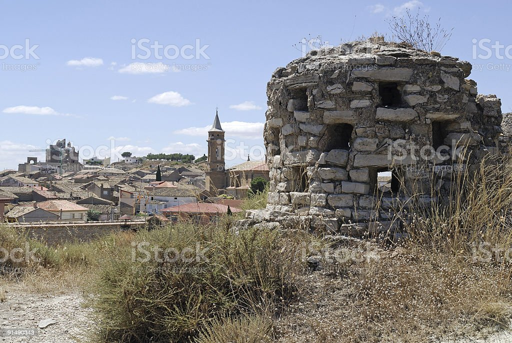 Almudevar (Huesca, Aragon, Spain) - Bodega and town panoramic view, royalty-free stock photo