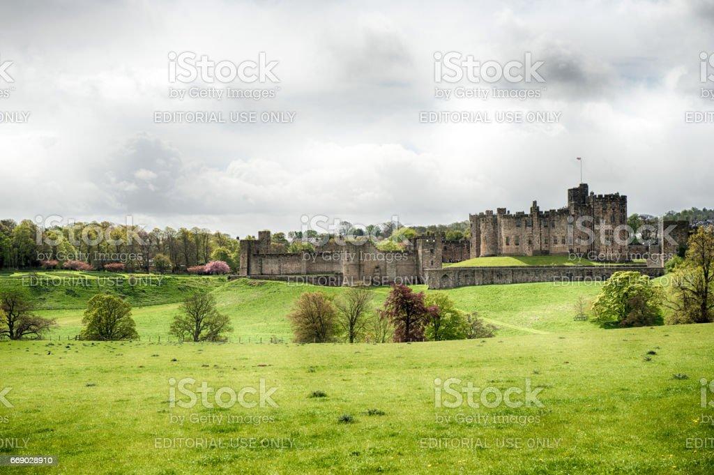 Alnwick Castle, Alnwick in Northumberland, UK stock photo