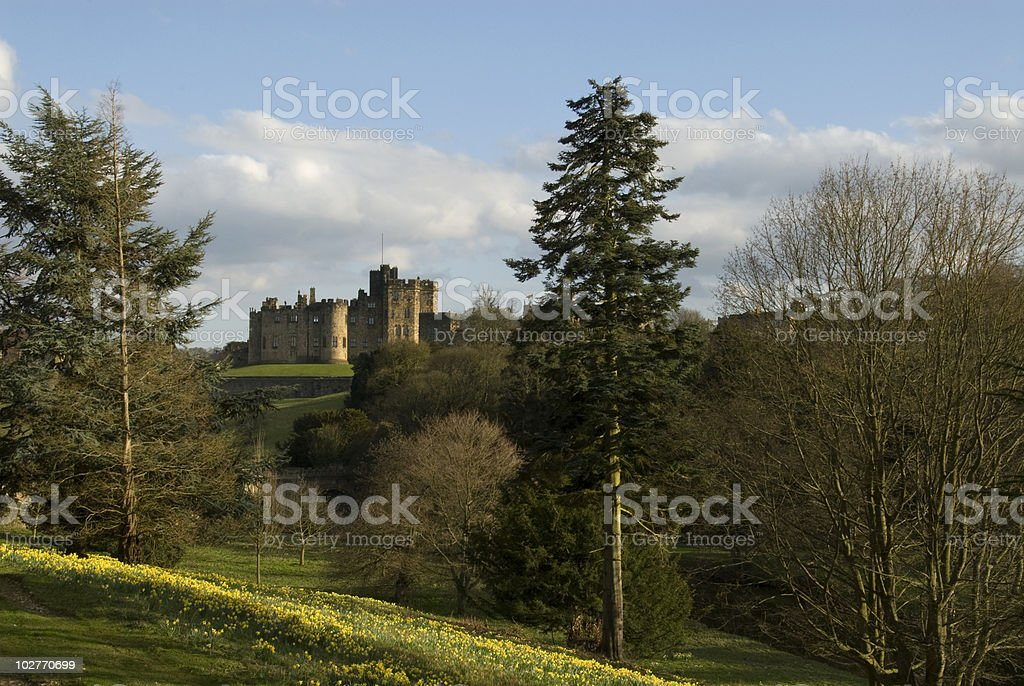 Alnwick Castle and Lions Bridge royalty-free stock photo