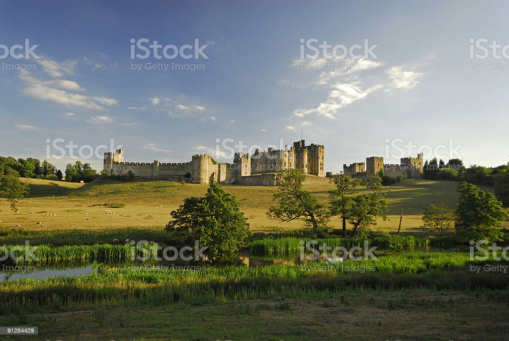 Alnwick Castle and River Aln, Northumberland stock photo