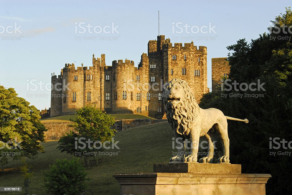 Alnwick Castle and the Lions Bridge stock photo