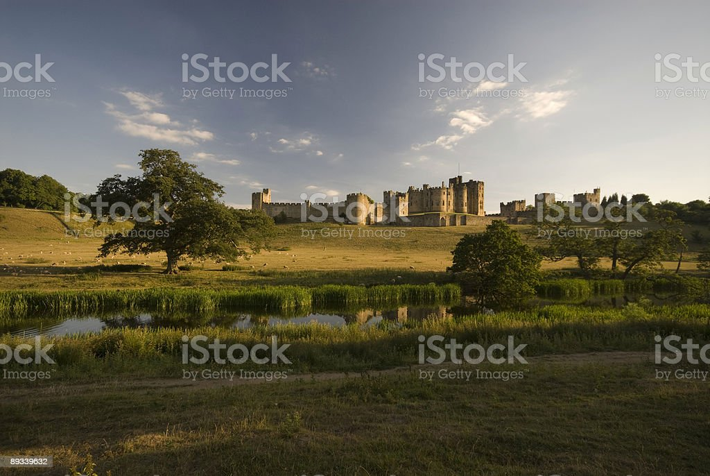 Alnwick Castle and the River Aln royalty-free stock photo