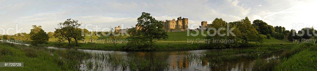 Alnwick Castle and the River Aln stock photo