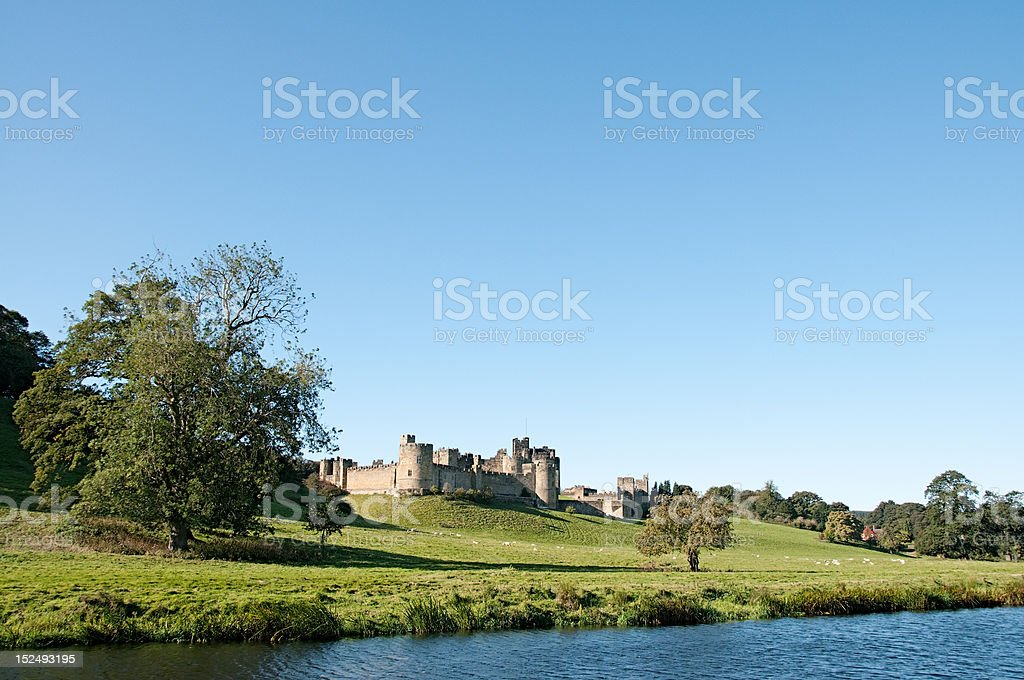 Alnwick Castle from the water stock photo