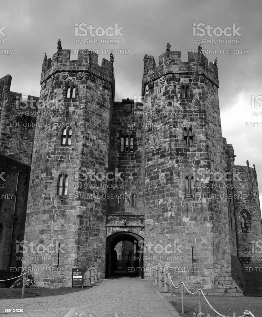 Alnwick Castle inner entrance stock photo