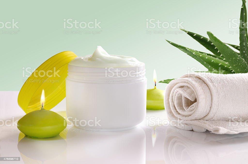 Aloe vera cream front view stock photo