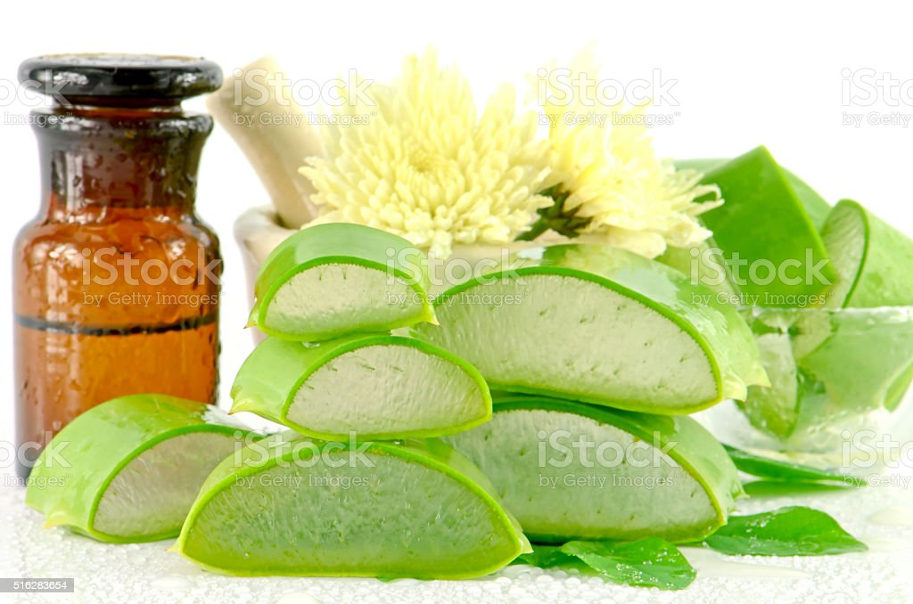 Aloe vera hair and facial treatment paste mask ingredients. stock photo
