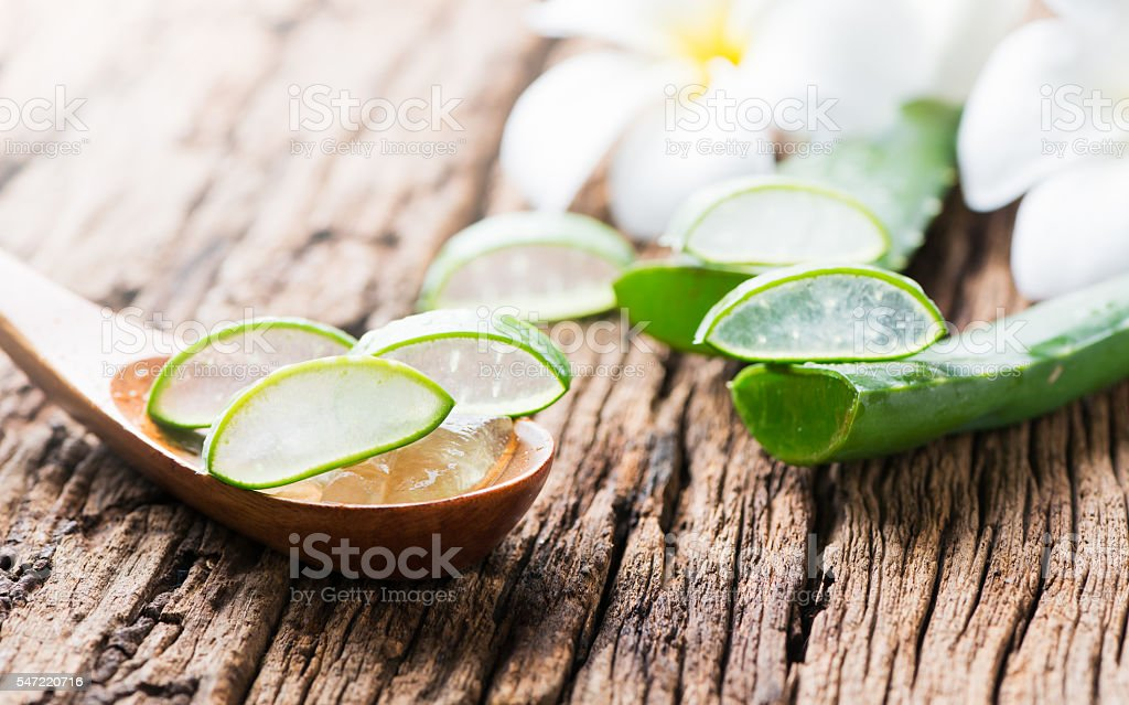 Aloe Vera leaf sliced stock photo