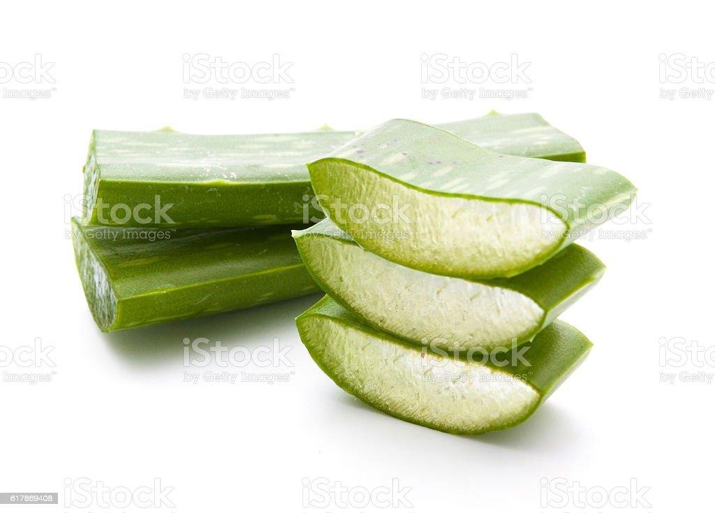 Aloe vera sliced isolated stock photo