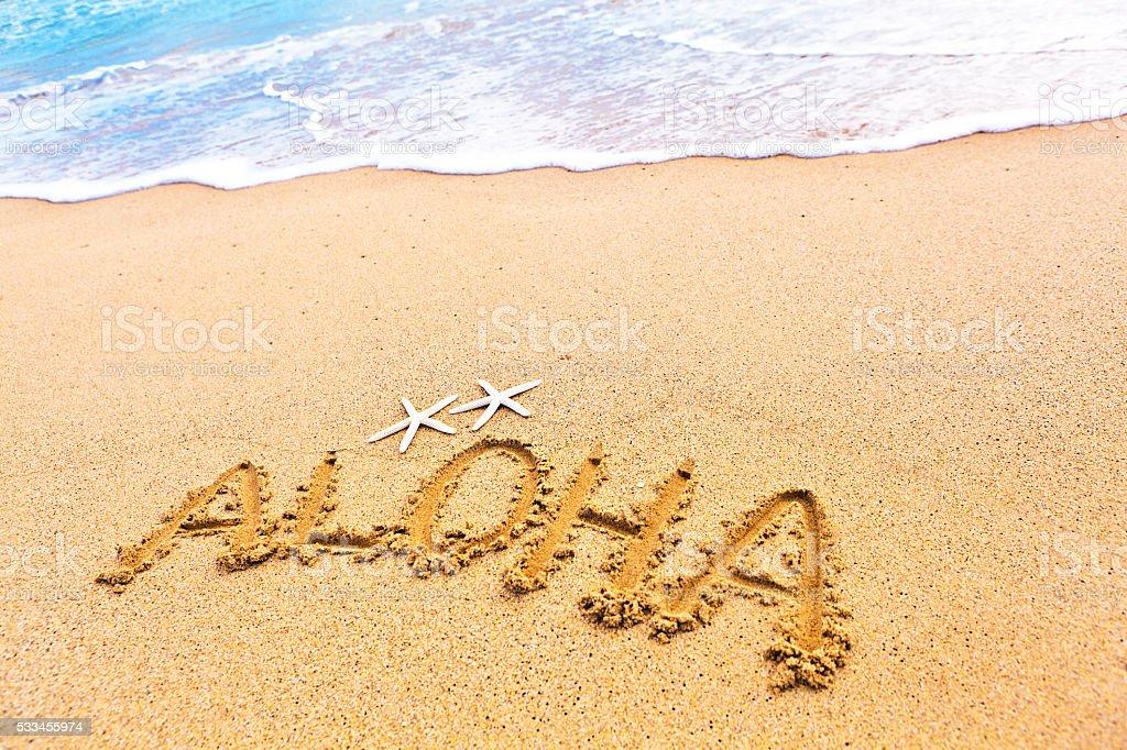 Aloha Greeting From Beach of Hawaii stock photo