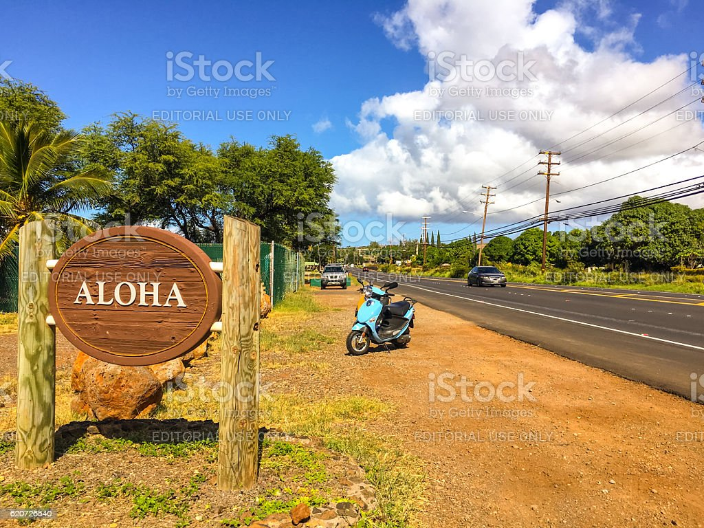 Aloha Sign on Hawaiian highway, Maui, USA stock photo