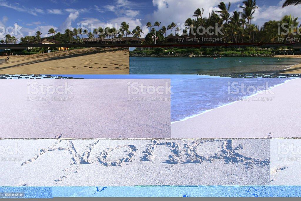 Aloha written in Maui Hawaii resort hotel sand beach royalty-free stock photo