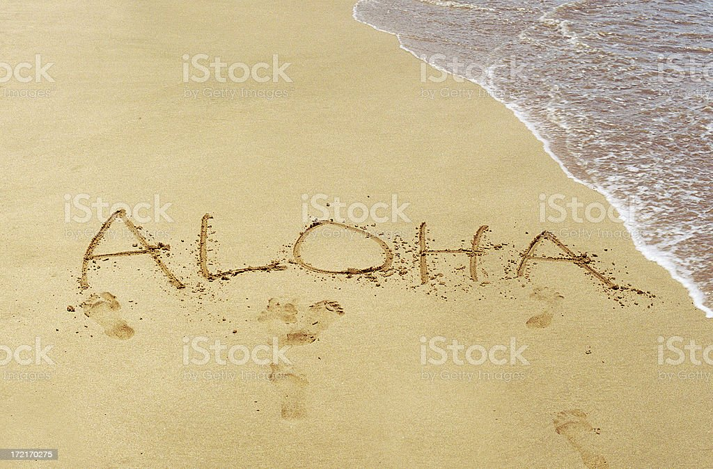 Aloha written in Maui Hawaii sand beach royalty-free stock photo