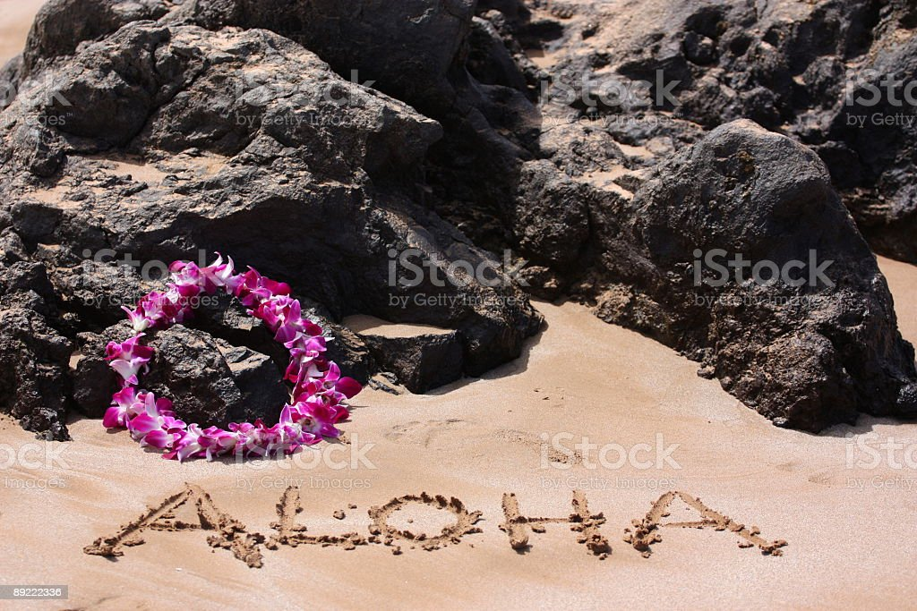 Aloha Written in the Sand royalty-free stock photo