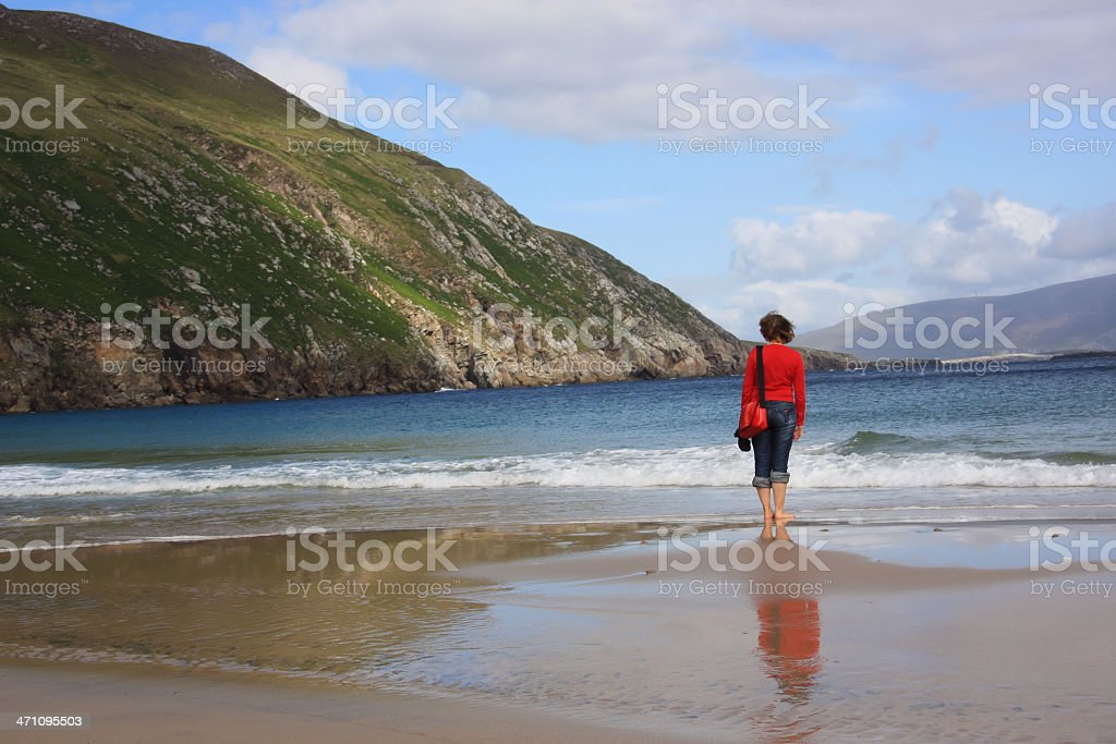 alone at the beach stock photo