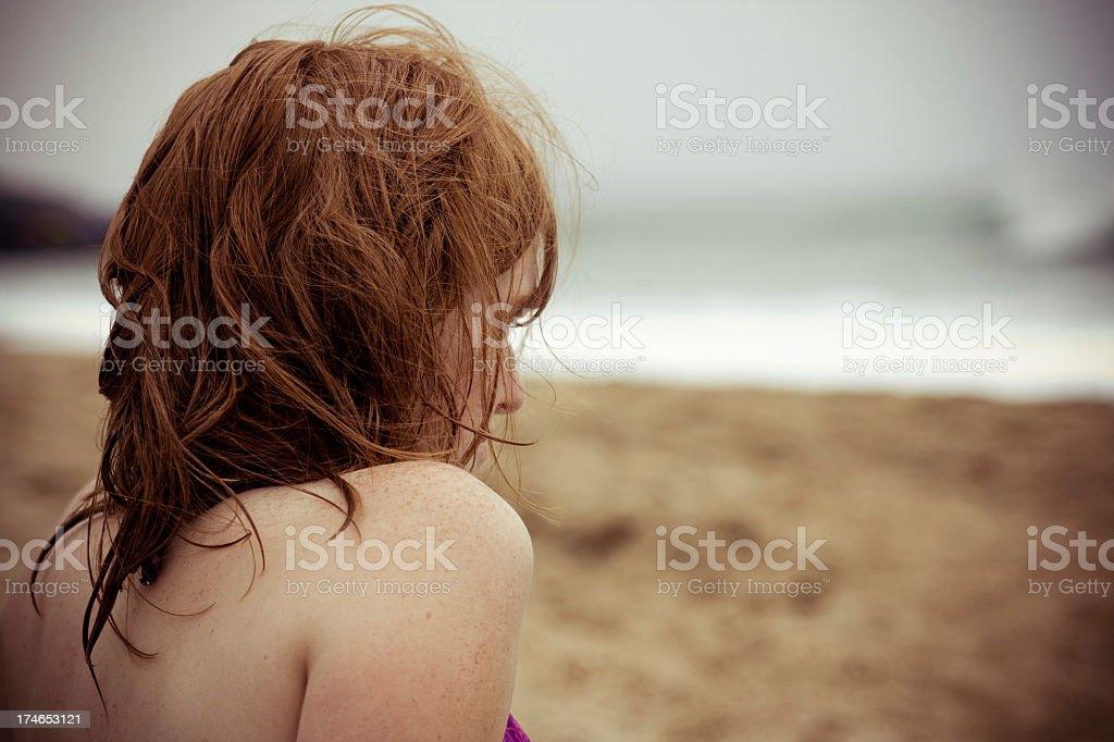 Alone at the sea shore stock photo