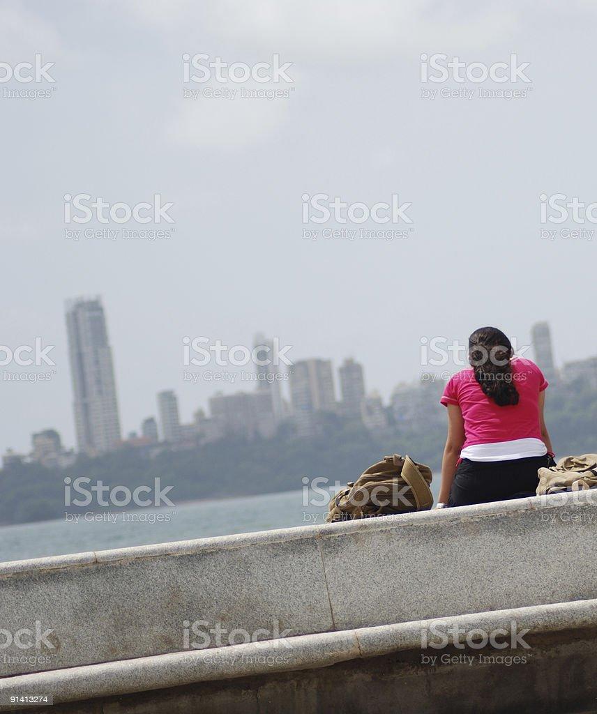 Alone by the sea, Mumbai, India 1 royalty-free stock photo