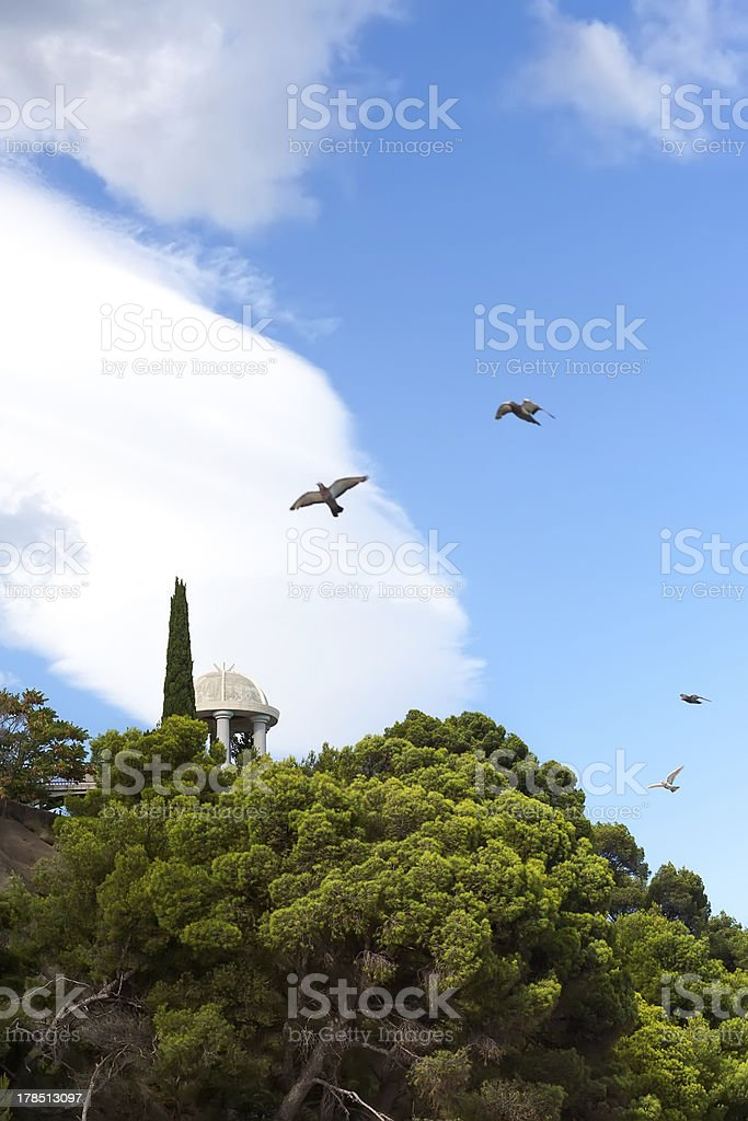 Alone crimean pavilion with birds royalty-free stock photo