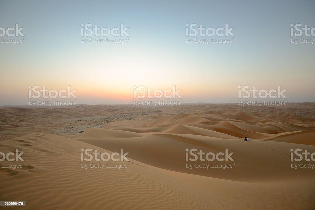 Alone in dune stock photo