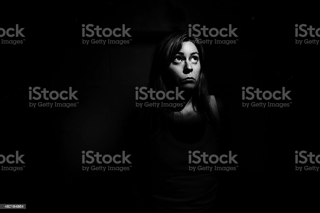 Alone in the dark stock photo