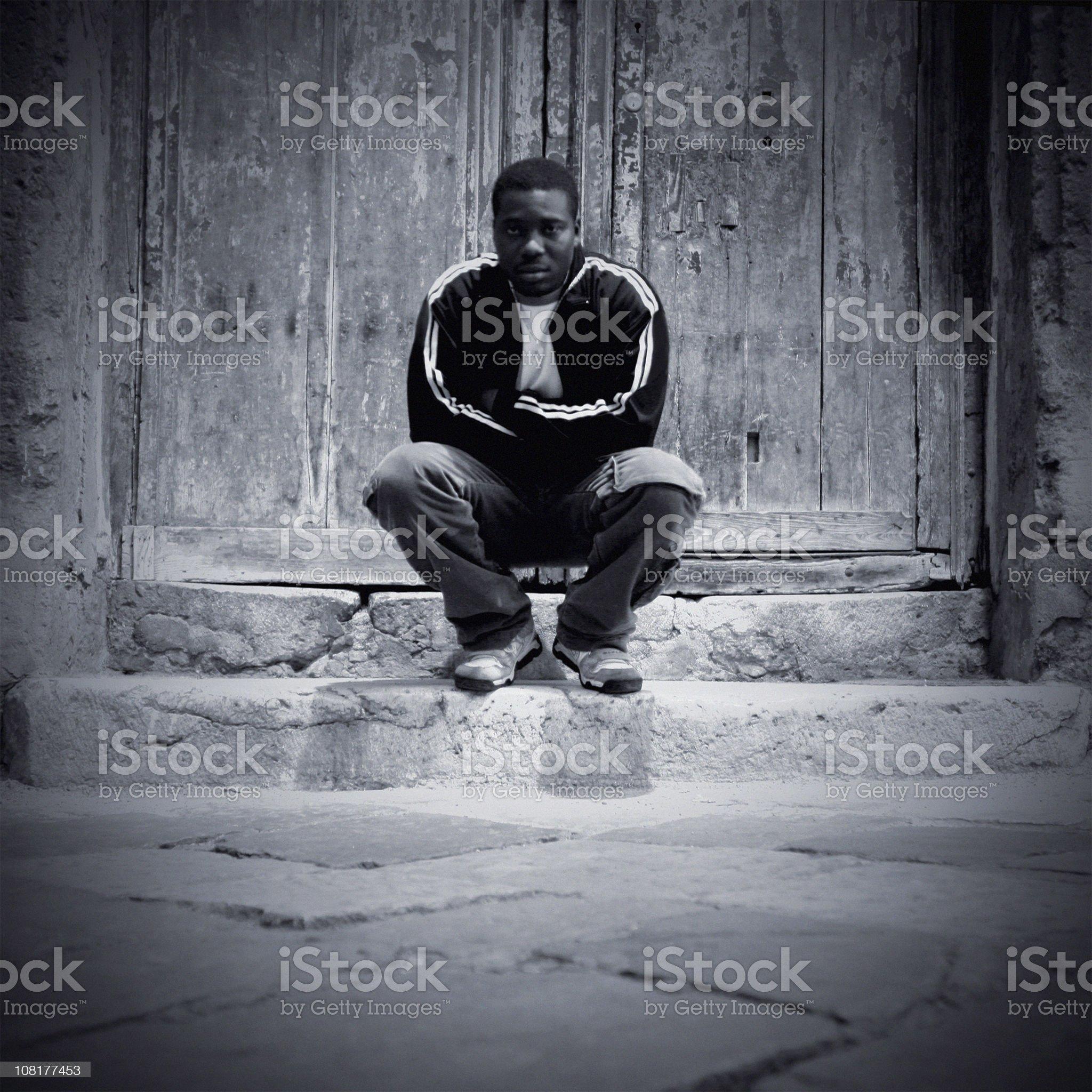 alone in the dark street royalty-free stock photo