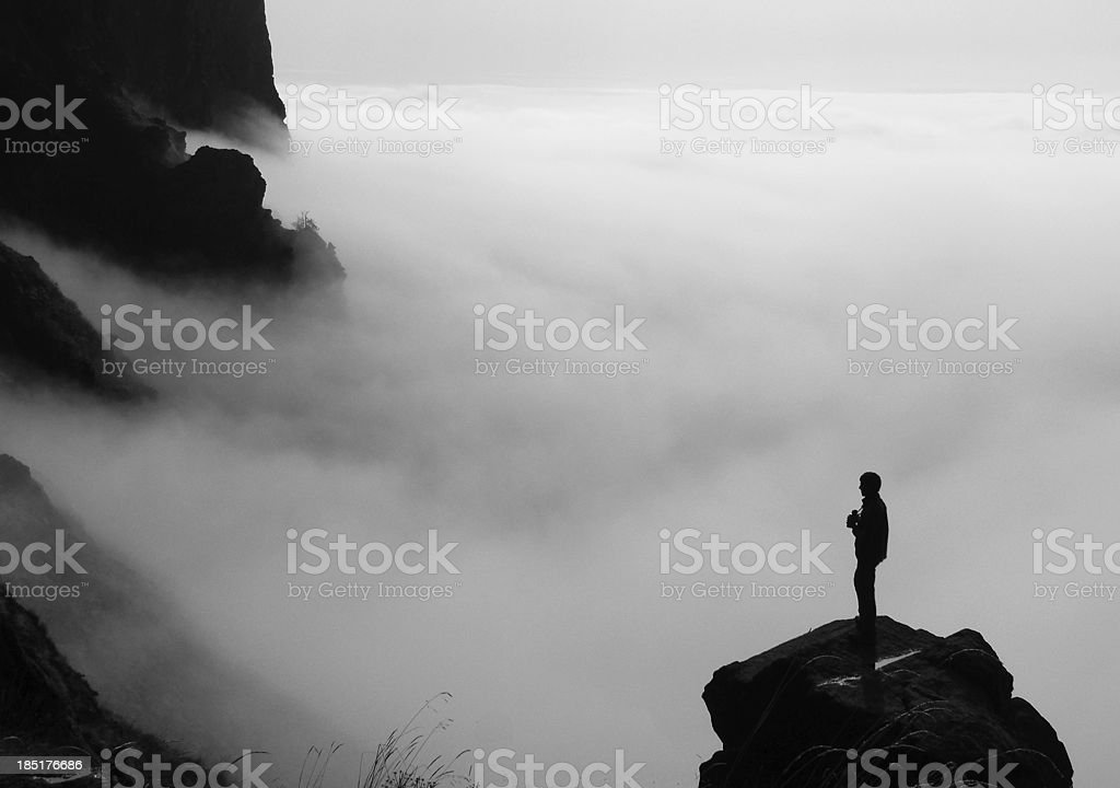Alone in the fog stock photo
