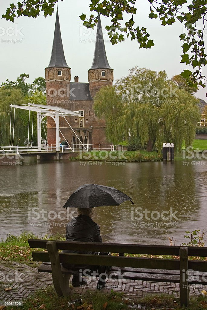 Alone in the rain stock photo