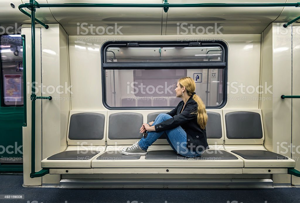 Alone in the subway stock photo