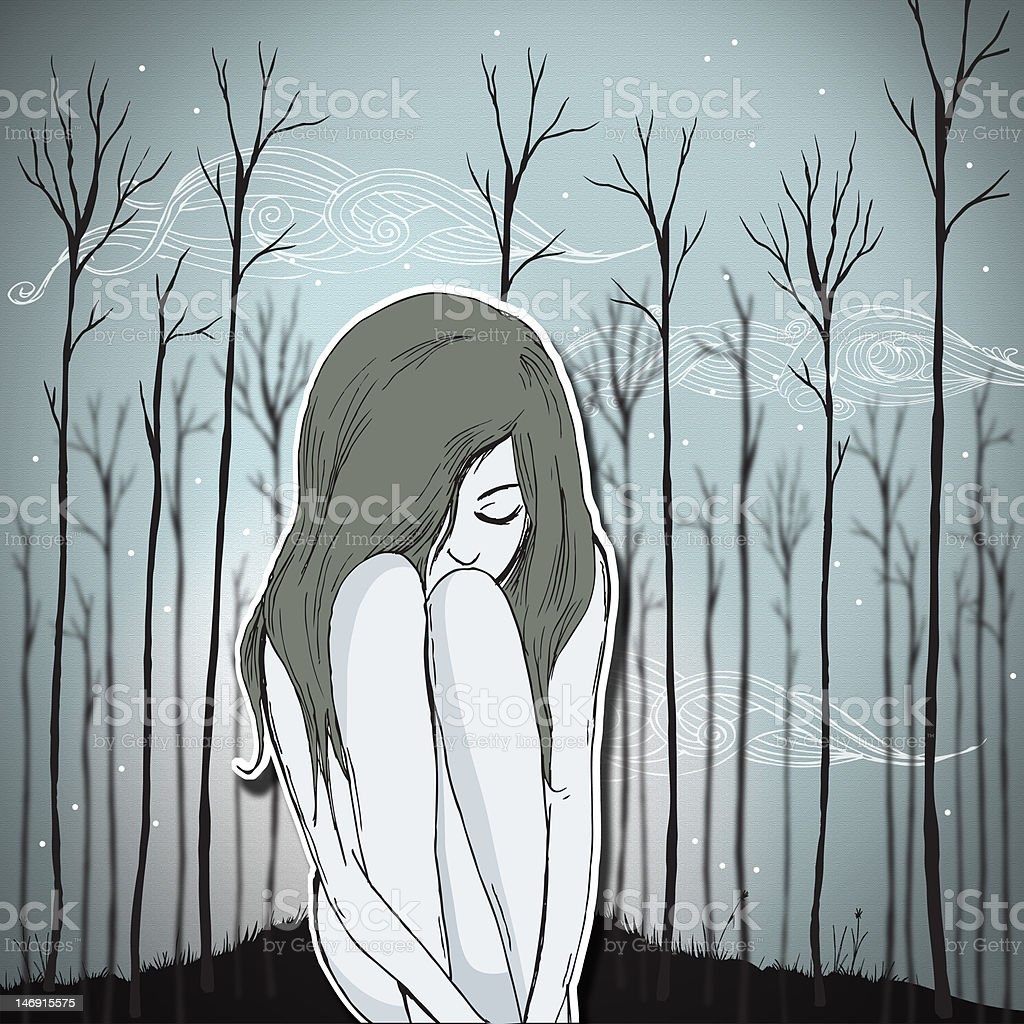 Alone in the woods vector art illustration