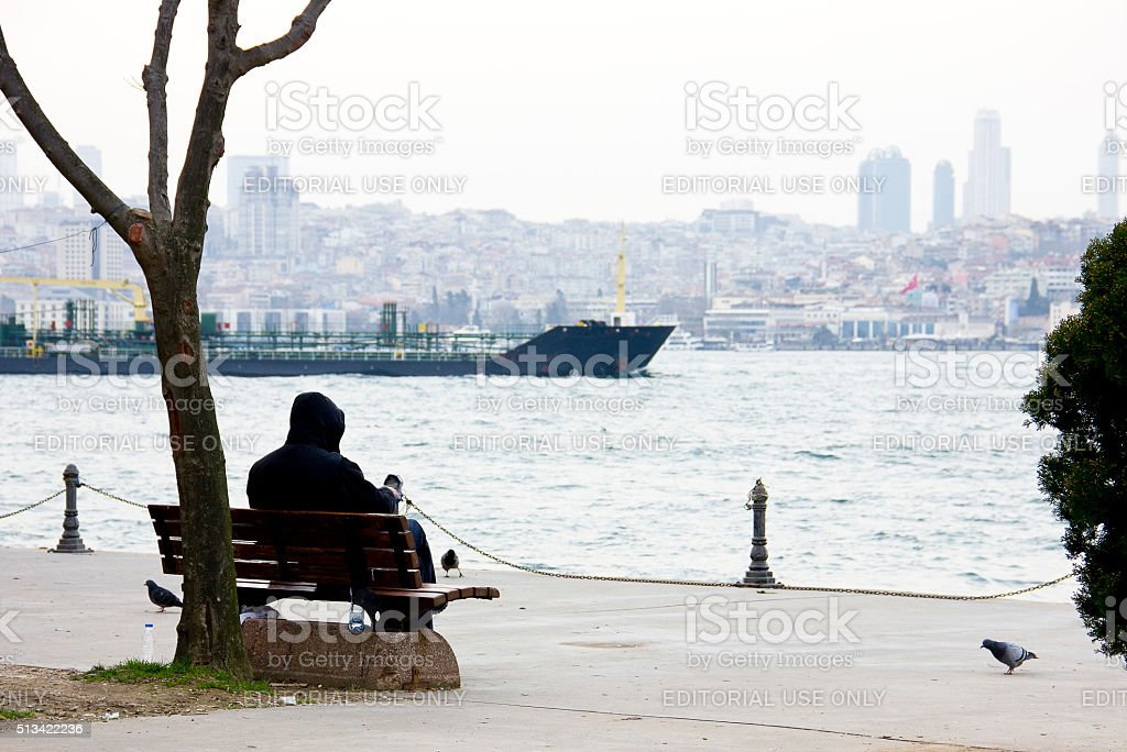 Alone man stock photo