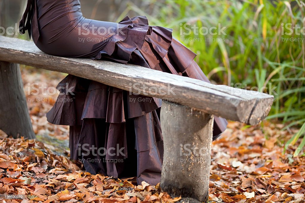 Alone Nigtht Dress Weaered Young Woman stock photo