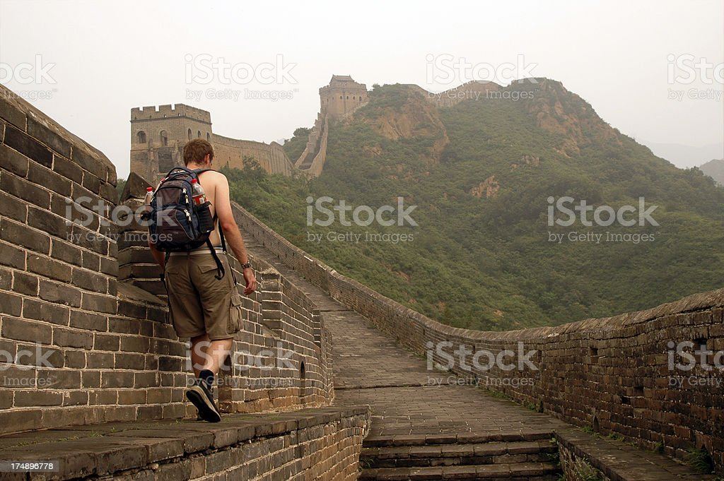 Alone on the Great Wall 2 stock photo