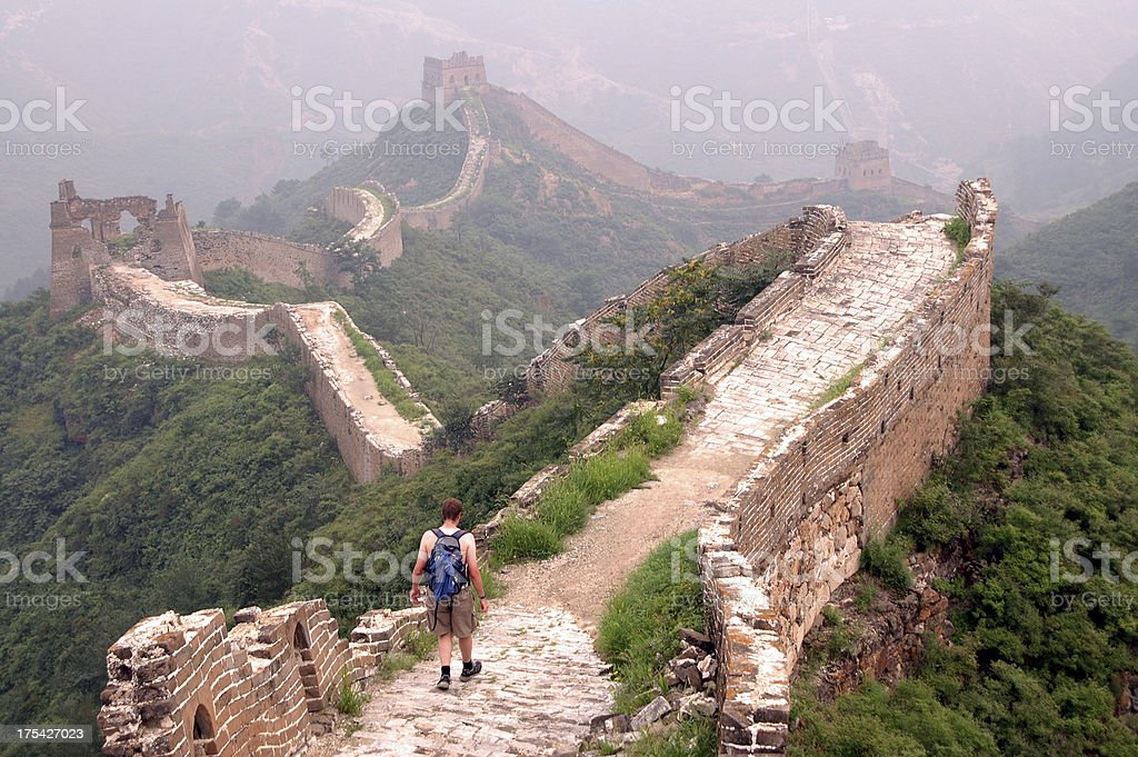 Alone on the Great Wall stock photo