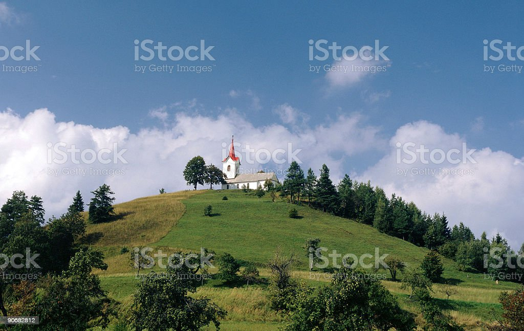 Alone on the hill stock photo