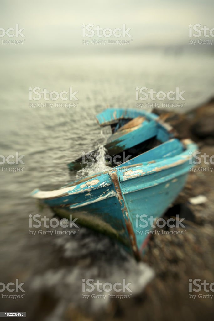 Alone Rowboat royalty-free stock photo