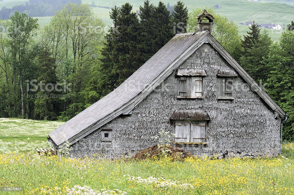 'Alone rural house in Switzerland' royalty-free stock photo
