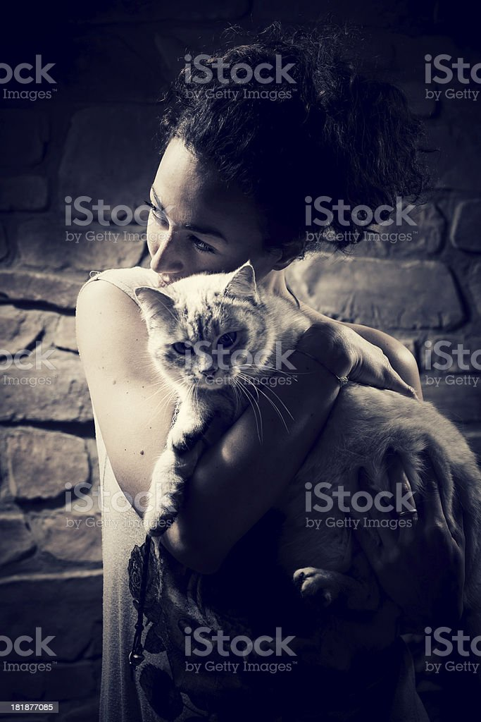 Alone with her Cat royalty-free stock photo