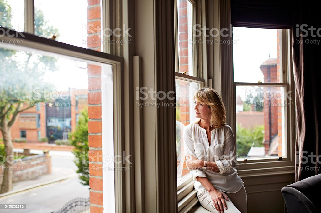 Alone with her thoughts stock photo