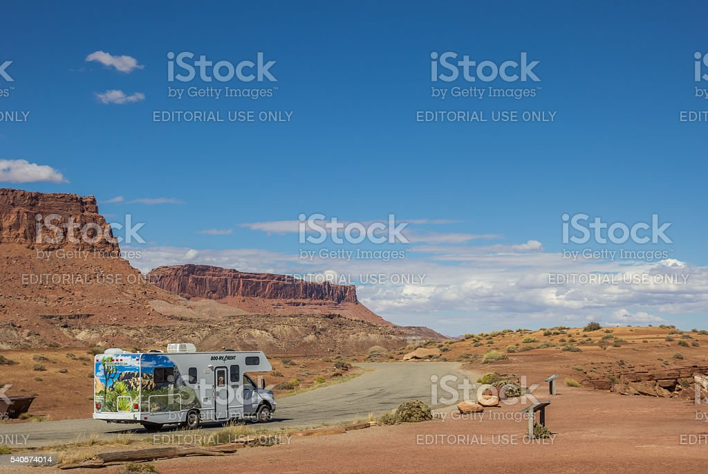 RV along highway 95 in southwest USA stock photo