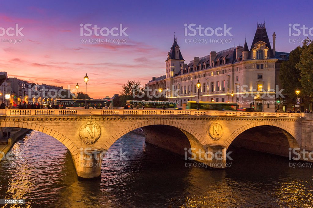 Along Seine river, Paris, France stock photo