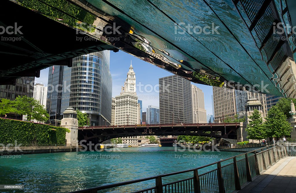 Along the Chicago River. stock photo