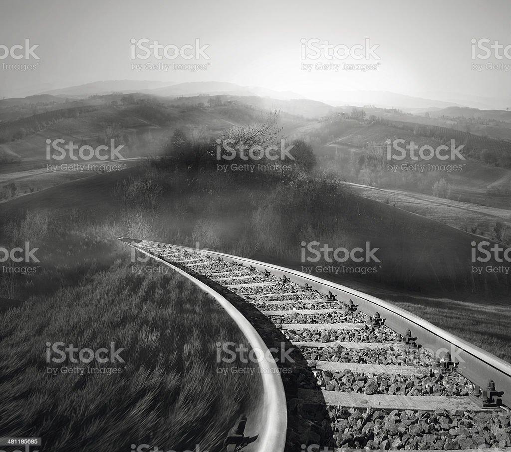 Along the railroad track stock photo