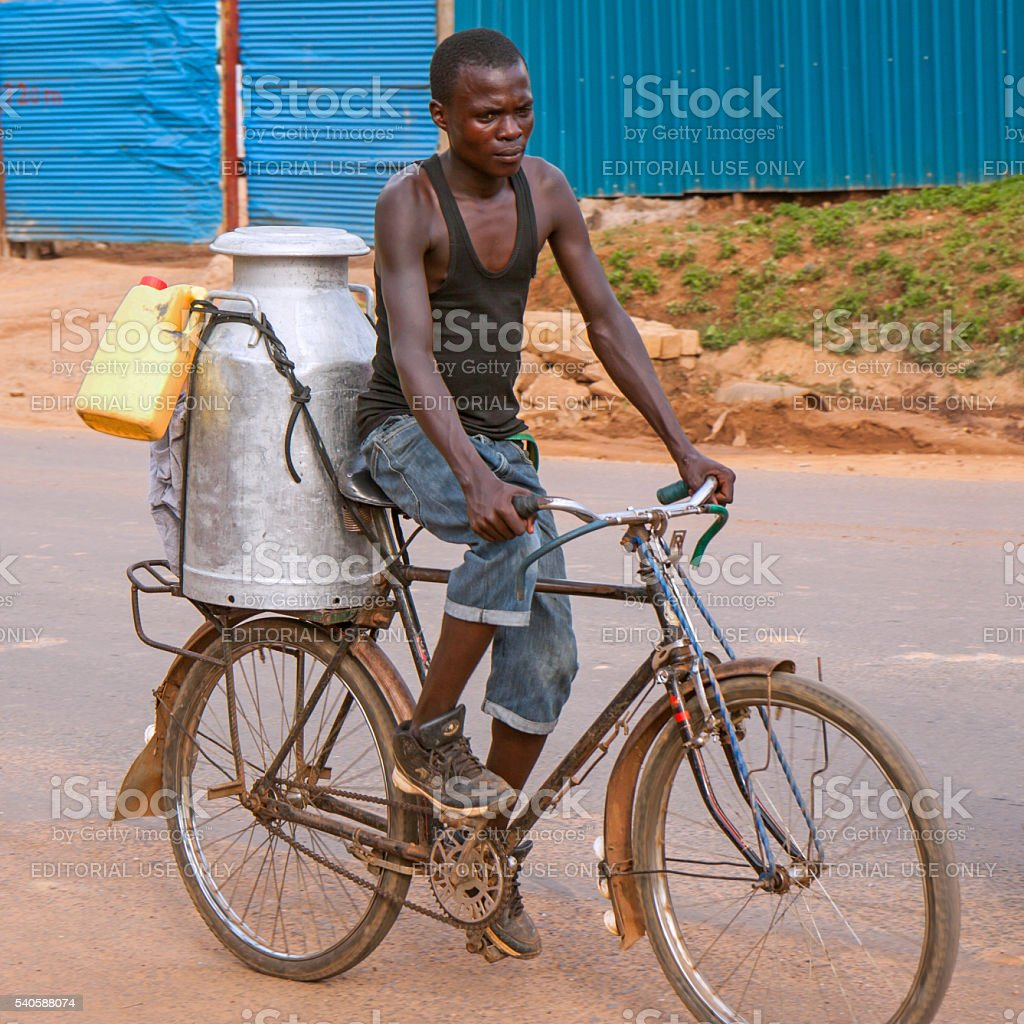 Along the road in Rwanda: bicycle transport stock photo