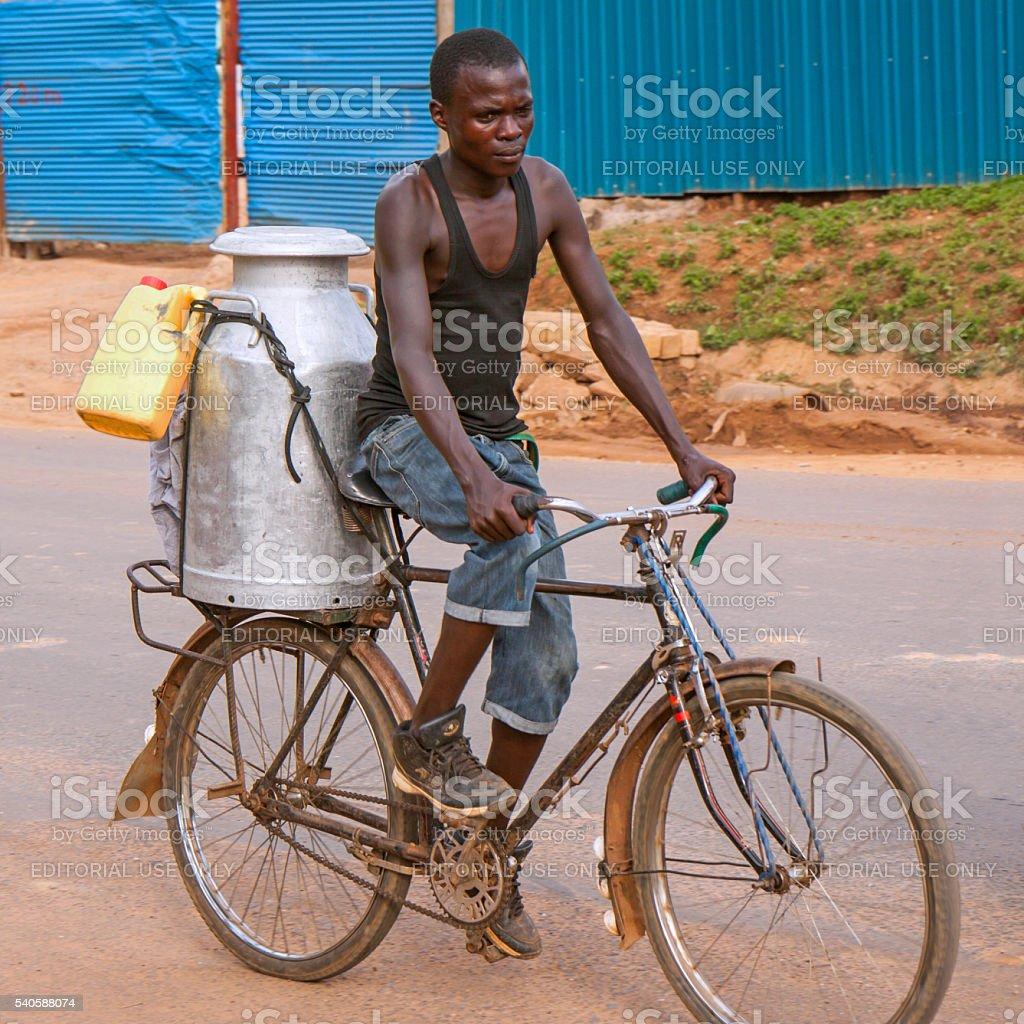 Along the road in Rwanda: bicycle transport stock photo