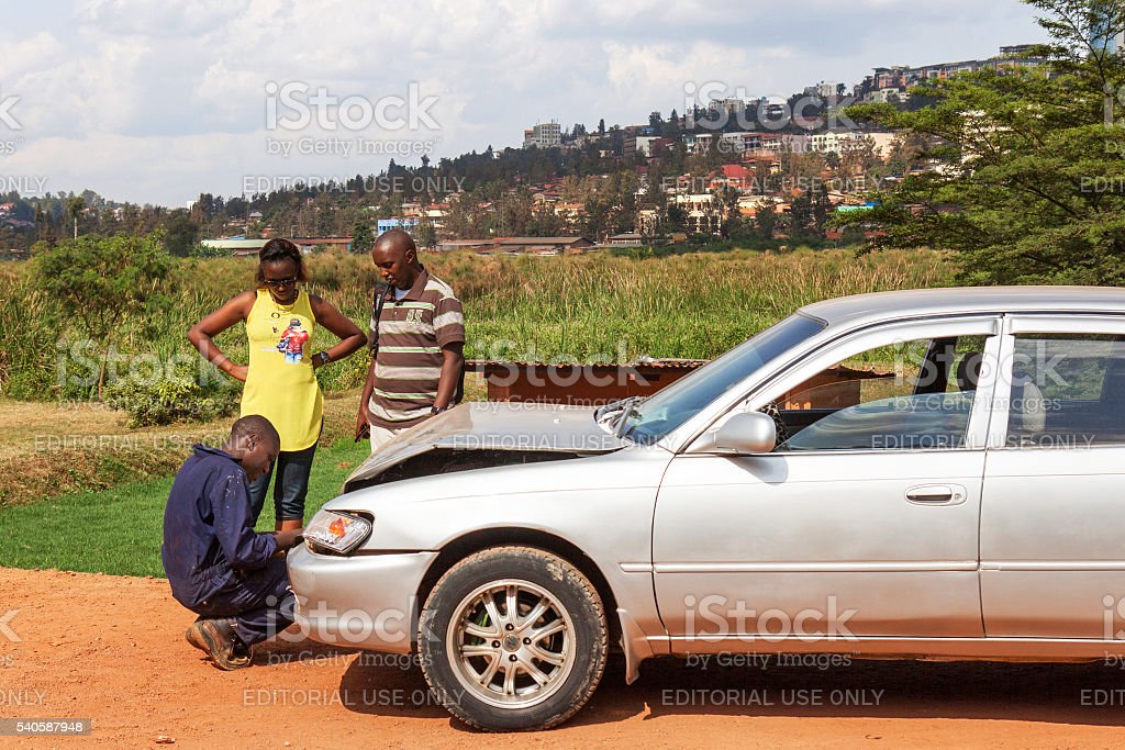 Along the road in Rwanda: car collision stock photo