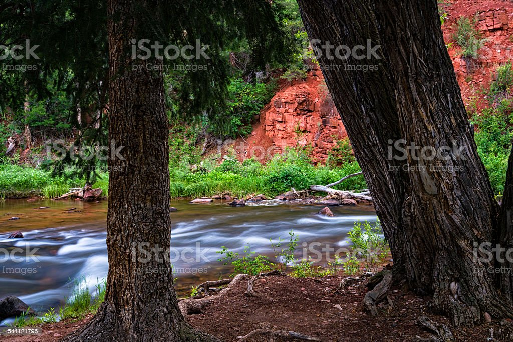 Along the Shore of the Frying Pan River stock photo